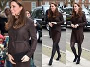 Làng sao - Bụng bầu khá lớn, Công nương Kate vẫn đi giày cao gót
