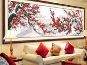 Nhà đẹp - Đuổi dữ hóa lành nhờ tranh thêu hoa đào