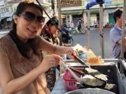 Làng sao - Thu Minh bụng bầu 5 tháng bán bánh khoai vỉa hè