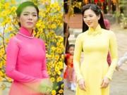 Làng sao - Lệ Quyên hào hứng diện áo dài đón Tết