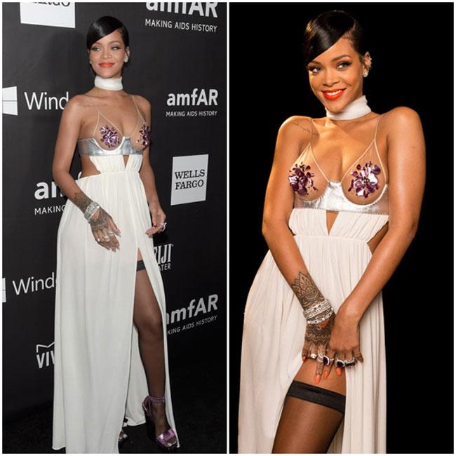 Tại bữa tiệc Gala amfAR LA 2014, Rihanna đã kích thích trí tò mò của các vị khách mời bởi chiếc váy cắt xẻ vô cùng táo bạo, đặc biệt là phần thân trên thông thoáng.