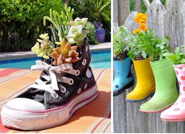 Khi tận dụng giày cũ làm chậu cây, nhớ chú ý đục lỗ thoát nước đối với các loại ủng cao su kín.