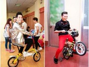 """Hậu trường - Nguyên Khang, Mr Đàm """"tranh nhau"""" đi xe đạp tí hon"""