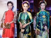 """Thời trang - Sao Việt """"sốt xình xịch"""" vì mốt áo dài gấm"""