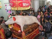 """Độc đáo lễ hội rước 18 ông lợn """"khổng lồ"""" xã La Phù"""