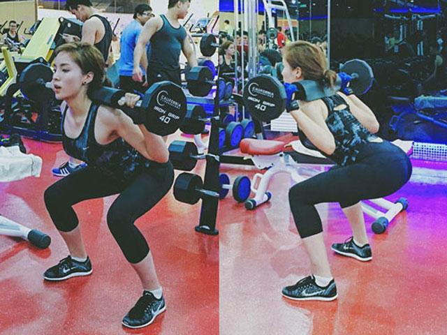 Hoa hậu Kỳ Duyên tập squat tăng vòng 3 cực chuẩn