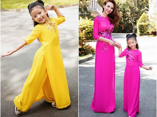 Con gái HH Ngọc Diễm mặc áo dài duyên dáng bên mẹ