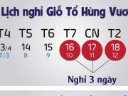 Giỗ Tổ Hùng Vương và 30/4-1/5 được nghỉ bao nhiêu ngày?