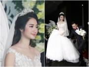 Giải trí - Hoa hậu Thu Ngân được chồng đại gia hết mực chăm sóc, nâng váy trong tiệc cưới