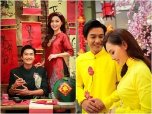 Vợ chồng son Quang Tuấn - Linh Phi đẹp ngọt ngào ngày 30 Tết