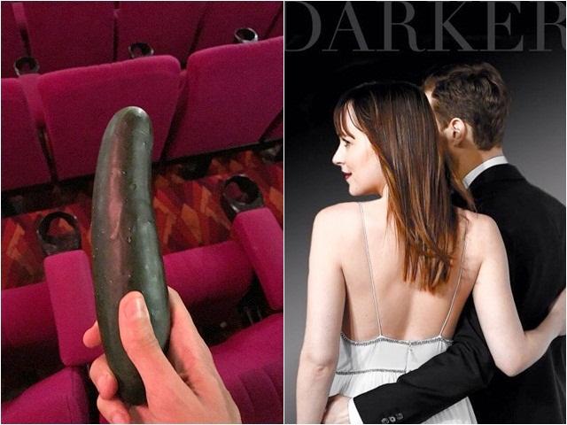 Cạn lời với vật thể kỳ lạ xuất hiện trong rạp chiếu 50 sắc thái đen