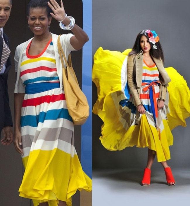 Tăng Thanh Hà đụng hàng đẳng cấp với đệ nhất phu nhân tổng thống Mỹ trong chiếc váy kẻ sọc màu mè của thương hiệu Marc Jacobs với giá 853 đô.