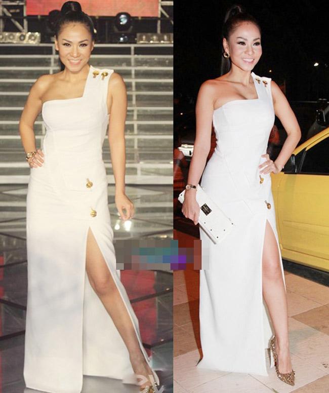 Thu Minh với chiếc váy Versace trắng có giá 150 triệu đồng. Thiết kế khẳng định đẳng cấp chịu chơi của nữ ca sĩ.