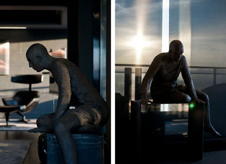 Bức tượng trang trí trong phòng khách tạo cho người ngồi trong phòng cảm giác như đang có người đang theo dõi mình.