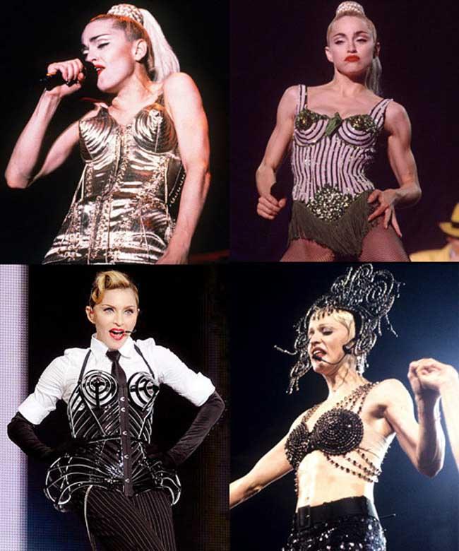 Madonna là bà hoàng của trào lưu áo ngực độc, lạ. Bộ sưu tập của cô có tới vài chục kiểu áo ngực bằng sắt, áo ngực xoáy ốc...