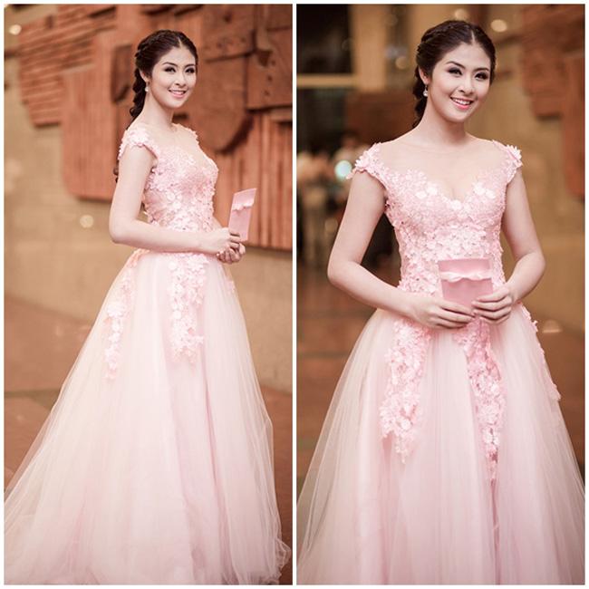 Hoa hậu Ngọc Hân ngọt ngào và nền nữa trong bộ đầm màu hồng pastel lộng lẫy.