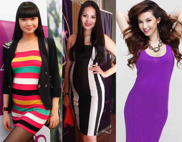 Váy ôm sát được rất nhiều sao nữ nổi tiếng chọn mặc khi mang bầu. Ưu điểm của kiểu váy này là khoe được rõ nhất đường cong quyến rũ của cơ thể.