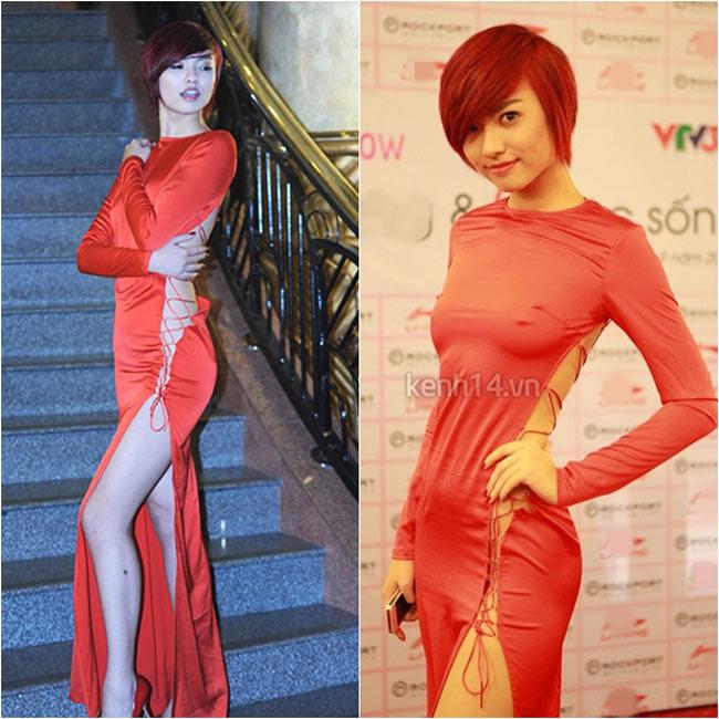 Hồng Quế cũng táo bạo không kém gì đồng nghiệp của mình với chiếc váy nhái xẻ dọc từ đầu đến chân.