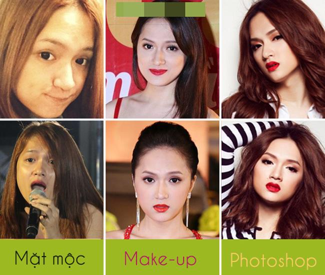 Hương Giang idol vốn được khen là người chuyển giới đẹp nhất Việt Nam. Cô có khuôn mặt tròn đầy nữ tính cùng đôi mắt to tròn đáng yêu. Tuy nhiên khi cô để mặt mộc, hình ảnh của Hương Giang khác hoàn toàn khi trang điểm và lúc photoshop.