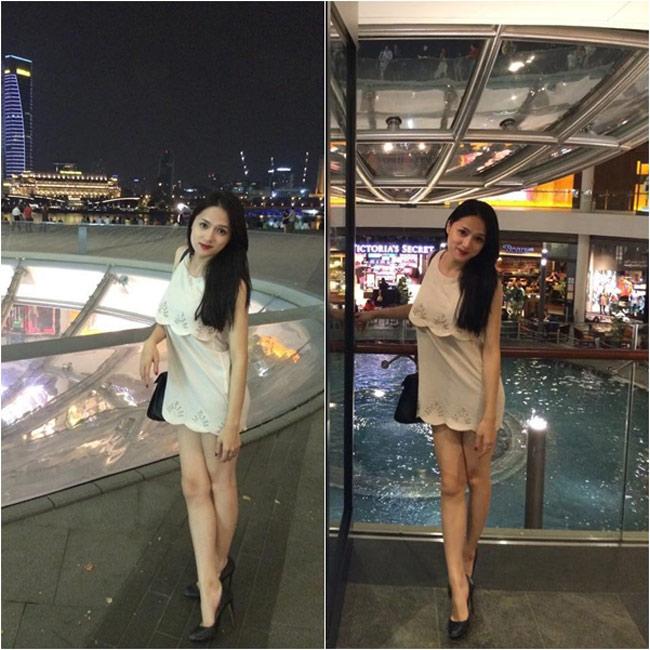 Phong cách thời trang của nữ ca sĩ Hương Giang ngày càng táo bạo với những mốt áo quần ngắn và hở hết cỡ.