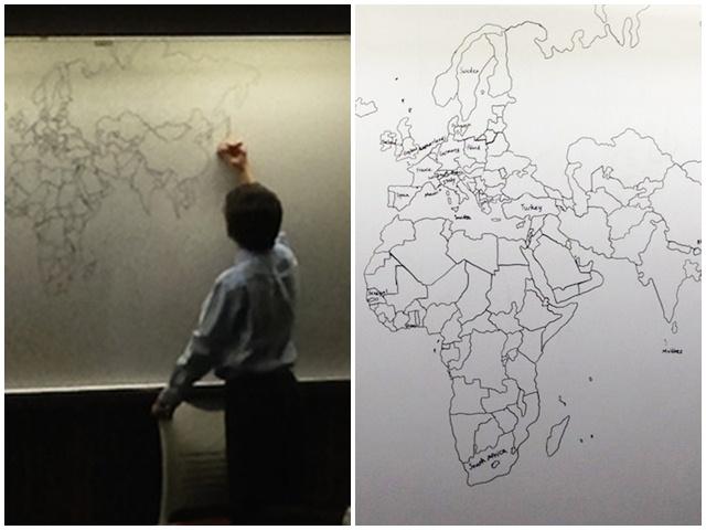Cậu bé tự kỷ 11 tuổi vẽ bản đồ thế giới siêu đẹp