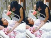 """Nhất Huy  """" nghiêng mình """"  tặng hoa cho Lê Kiều Như"""