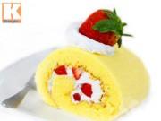 Bếp Eva - Hấp dẫn với bánh bông lan cuộn dâu tây