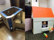 Nuôi con - Cha mẹ Việt 'sốt' làm nhà đồ chơi bằng bìa chỉ 5000 đồng cho con