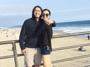 Làng sao - Tăng Thanh Hà ôm chặt chồng, cười rạng rỡ ở Mỹ