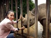 Làng sao - Thu Minh đi thăm tê giác tại vườn thú ở Cộng hòa Czech