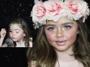 Bé gái 6 tuổi gây tranh cãi vì trang điểm quá thành thạo