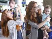 Làng sao - Lều Phương Anh bất ngờ khi được con gái ra đón sau chuyến lưu diễn