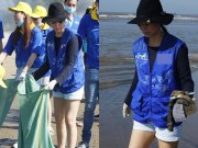 Làng sao - Thu Minh giản dị dọn rác ở bãi biển Sầm Sơn