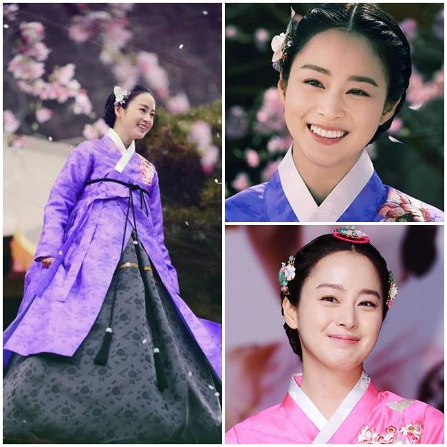 Trong bộ phim cổ trang 'Tình sử Jang Ok Jung', Nữ diễn viên Kim Tae Hee vào vai vị hoàng hậu nổi tiếng của lịch sử xứ Kim Chi. Vẻ đẹp lộng lẫy, sáng rực những thước phim của Kim Tae Hee khiến khán giả không khỏi ngưỡng mộ. Mặc dù tạo hình trong phim cổ trang khó biến hóa đa dạng như trong phim hiện đại nhưng nét đẹp tinh tế của đệ nhất mỹ nhân xứ Hàn vẫn không ngừng tỏa sáng.