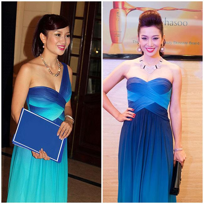 Có thể thấy 2 bộ đầm của Hoa khôi Thu Hương nằm trong cùng một bộ sưu tập. Chiếc váy lệch vai được cô diện tại một sự kiện vào giữa năm 2012. Còn bộ đầm quây ngực được mặc trong một sự kiện mới đây nhất.