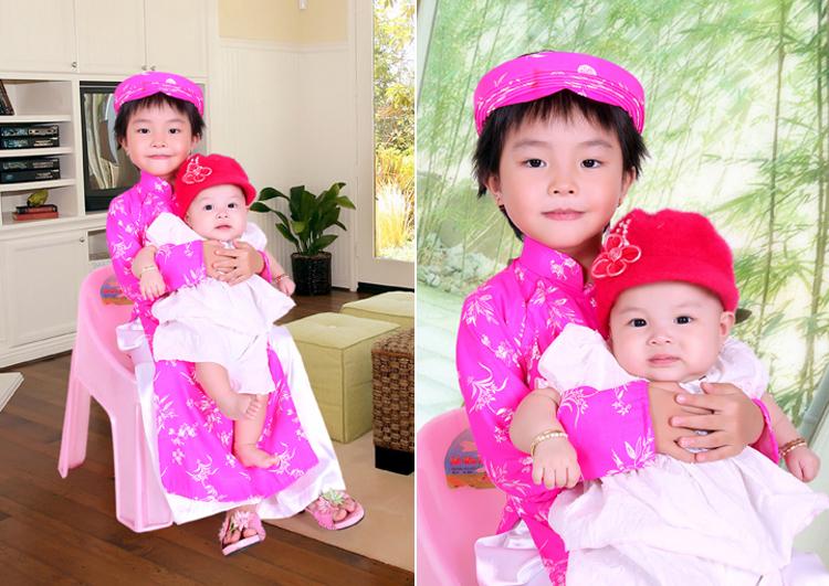 Các bạn nhìn hai chị em bé Hồng Anh và Hồng Lam có giống nhau không nè?