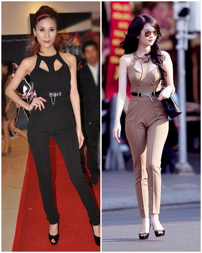 Hai người đẹp đụng độ bộ jumsuit cut out với 2 phiên bản màu khác nhau.