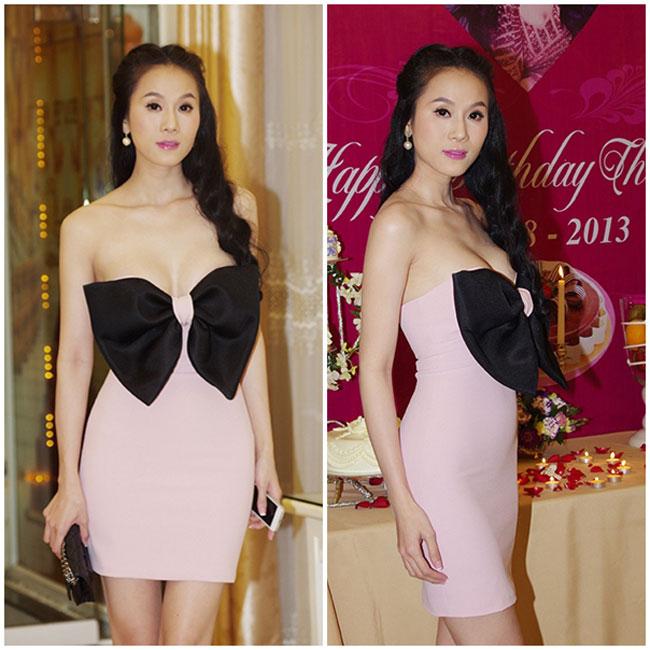 Chiếc váy quây quá trễ của Thái Hà khiến những người xung quanh thấp thỏm, chỉ sợ cô 'lộ hàng'.