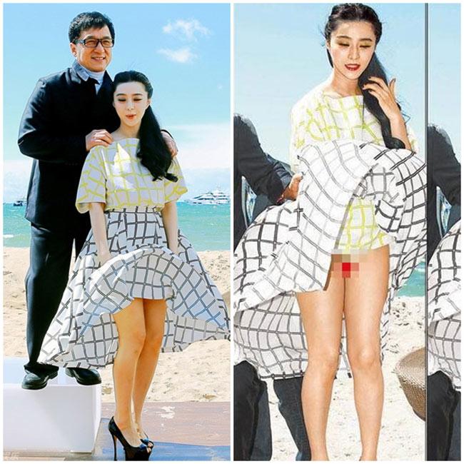Được tôn vinh là một trong những người đẹp sành sỏi thời trang nhất Hoa ngữ nhưng cũng không ít lần, Phạm Băng Băng dính vào những sự cố thời trang khá phản cảm. Tai nạn 'để đời' của Phạm Băng Băng có lẽ là vụ tốc váy xảy ra tại liên hoan phim Cannes 2013, khiến người đẹp bị cư dân mạng chê là 'ngu ngốc'.