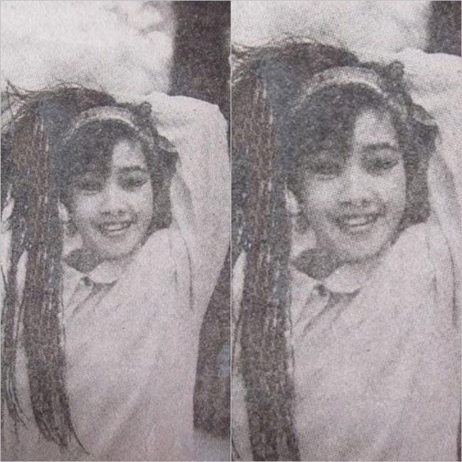 Hồng Nhung hồn nhiên, giản dị thời thiếu nữ với áo sơ mi cổ sen tròn và mái tóc buộc dễ thương.