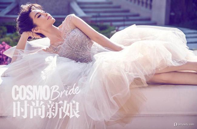Lý Băng Băng làm cô dâu mơ màng trên Cosmopolitan Bride số tháng 10/2013.