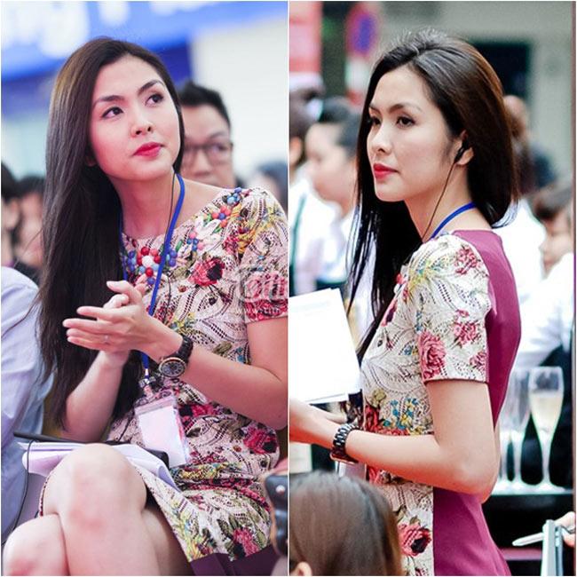 Kể từ sau khi kết hôn với doanh nhân Louis Nguyễn, Tăng Thanh Hà cũng thường xuyên tham gia các hoạt động kinh doanh cùng chồng. Từ đây, trang phục công sở cũng gắn bó với cô hơn.