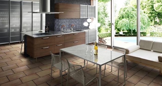 Căn bếp nhỏ với nội thất đơn giản nhưng đầy tươi mới.