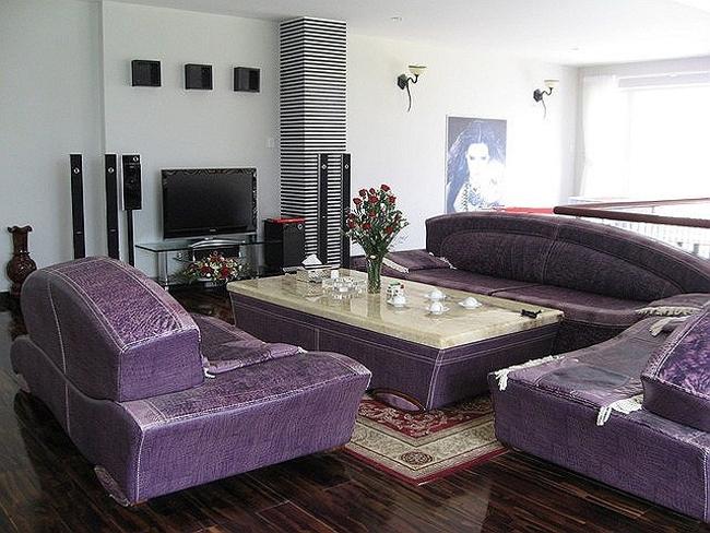 Phòng khách nổi bật với bộ sofa lớn màu tím.