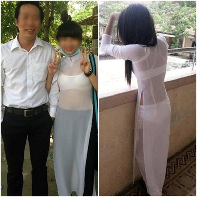 Nữ sinh táo bạo lựa chọn áo dài xuyên thấu khi đến trường hoặc lên giảng đường.