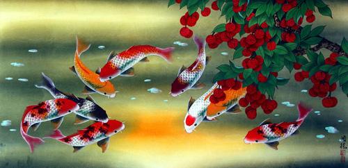 Tranh cửu ngư quần hội (cá) thích hợp cho phòng khách