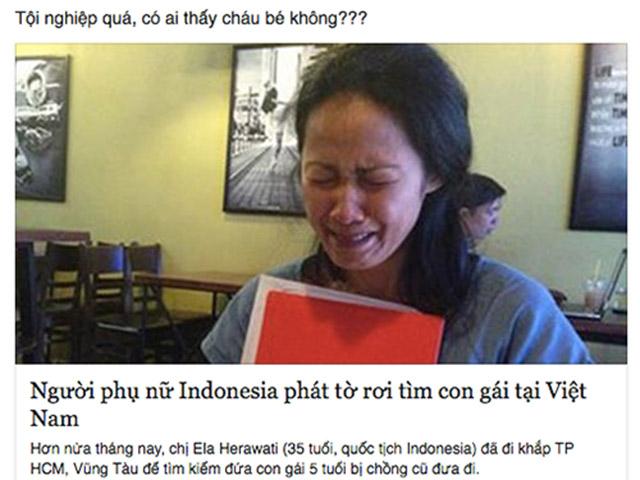 Dân mạng kêu gọi giúp bà mẹ Indonesia tìm con ở Việt Nam