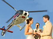 Siêu mẫu Hà Anh dùng máy bay trực thăng tới đám cưới