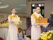 Á hậu Trương Thị May diện áo dài trắng dự lễ Vu Lan