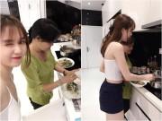 Làng sao - Ngọc Trinh tình cảm vào bếp với mẹ kế